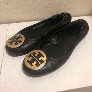 Tory Burch Black Gold Reva Ballerina Flats Sz 9